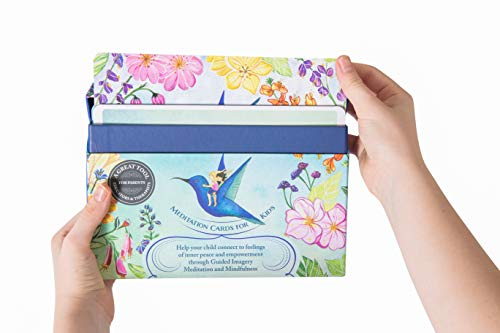 Meditation Cards for Kids - a Mindfulness kit of XL Cards with Calming Guided Meditations for Empowerment, Focus and Relaxation. Great for Parents, Teachers and Therapists.