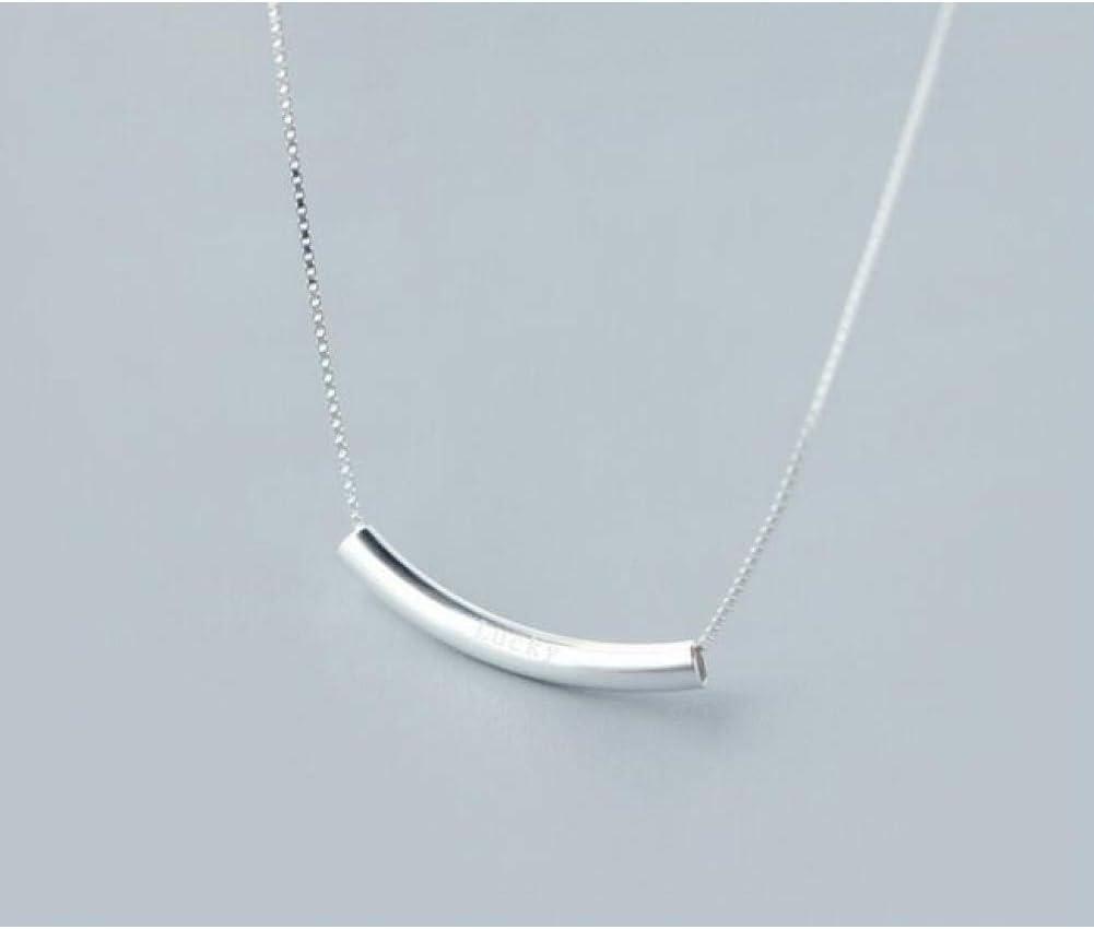 LPYBNW Collar de Mujer Plata 925 Lucky Bar Arch Sonrisa Colgante Collar Joyería de Plata esterlina Regalo