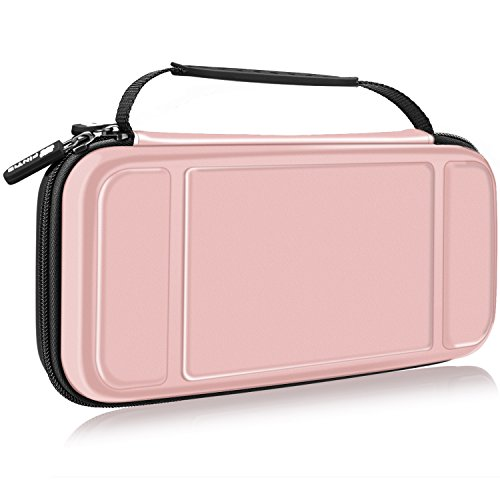 - Fintie Carry Case for Nintendo Switch - [Shockproof] Hard Shell Protective Cover Portable Travel Bag w/10 Game Card Slots and Inner Pocket for Nintendo Switch Console Joy-Con & Accessories, Rose Gold