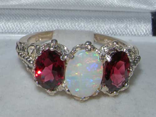 925 Sterling Silver Real Genuine Opal And Garnet Womens