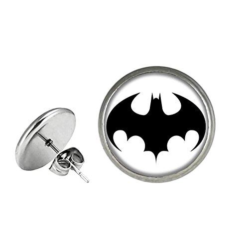 Batman Post Stud Silvertone Premium Quality Earrings DC Comics Movies Cartoons Superhero JLA Theme (Batman Earrings For Men)