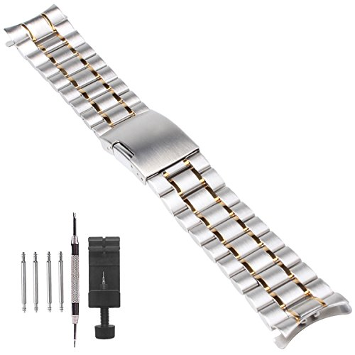 Weelovee 20mm Stainless Steel Watch Band with Curved End Design Bracelet for Women Mens Metal Fold Over Wrist Strap Replacement Silvergold,Repair Kits Included