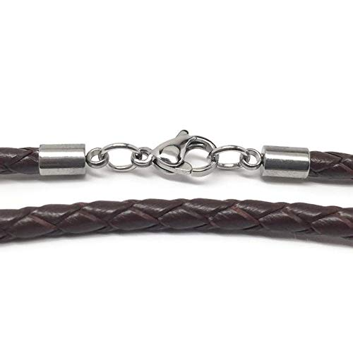 Loralyn Designs 3mm Men's Brown Braided Leather Necklace Cord with Stainless Steel Lobster Clasp (16 Inches)