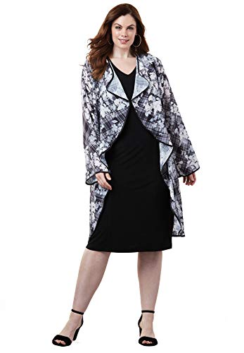 - Roamans Women's Plus Size High-Low Jacket Dress - Gray Botanical Plaid, 18 W