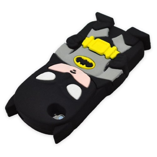 Candymaker 3D Cute Lovely Stylish Black Batman Pattern Soft Silicone Back Case Cover Protective Skin for Apple iPod Touch 4th Generation / 4th Gen With 2 In 1 Winebottle style Phone Charm/Anti-dust Plug