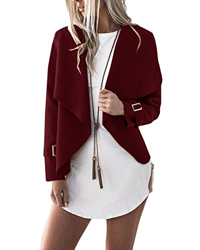 Manica Giacca Cappotto Cardigan Lunga Blazer Jacket Bodeaux Donna Tops Casual Corto Breve Outwear 1ApggnZXW