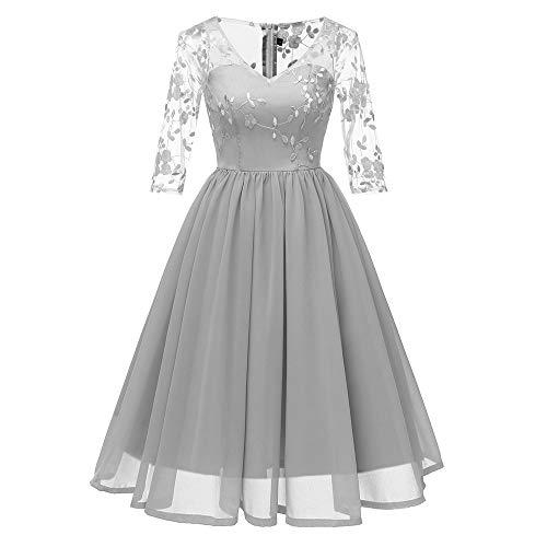 TOTOD Dress for Women Womens Vintage Lace Princess Cocktail Dresses - Ladies Party Hepburn Aline Swing Dress