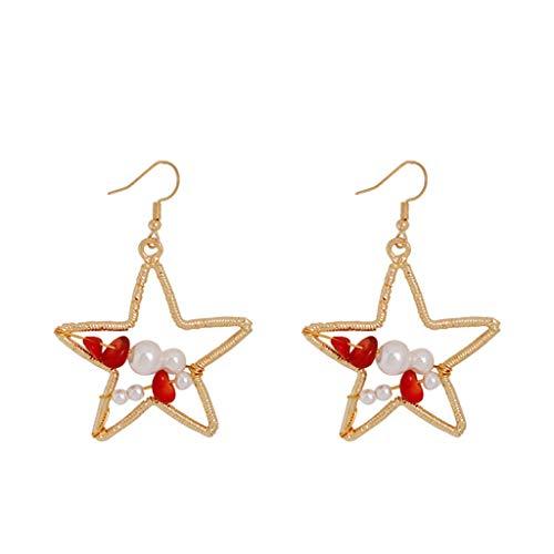 Redvive Top Fashion Elegant Bohemian Metal Pearl Love Geometry Star Earrings Women's Jewelry