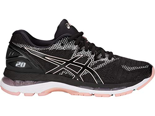 ASICS Women's Gel-Nimbus 20 Running Shoes, 8.5M, Black/Frosted Rose