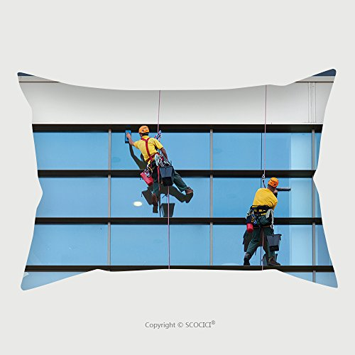 Custom Microfiber Pillowcase Protector Two Workers Washing Windows Of The Modern Building 85580785 Pillow Case Covers Decorative price