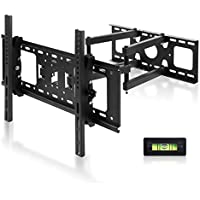 SIMBR TV Wall Mount Bracket with Full Motion Double Articulating Arm for most 17-72 Inches LED, LCD and Plasma TVs up to VESA 600x400mm and 132 LBS, with Tilt, Swivel, and Leveling Adjustment
