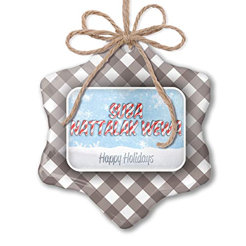 NEONBLOND Christmas Ornament Merry Christmas in Sinhalese from Sri Lanka Grey White Black Plaid