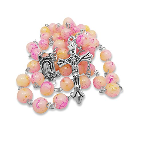 (Soul Shop Marble Pink and Yellow Rosary - Rose-Inspired Christian/Catholic Gift Prayer Beads in Nondenominational Gift Box (Pink/Yellow))