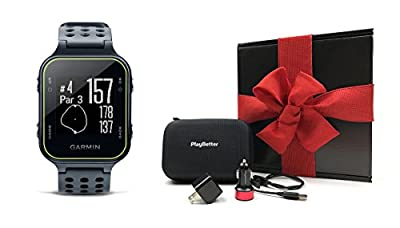 Garmin Approach S20 (Slate) Gift Box Bundle | Includes Golf GPS Watch/Activity Tracker, PlayBetter USB Car & Wall Charging Adapters, Protective Hard Carrying Case | Black Gift Box and Red Bow