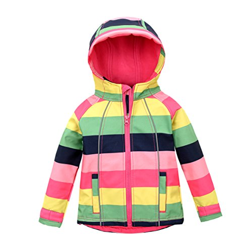 M2C Girls Hooded Fleece Lined Windproof Sweater Softshell Jacket, Red, 4T