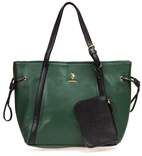 us-polo-assn-womens-greenwich-color-block-mixed-media-tote-hunter-green-black-tote