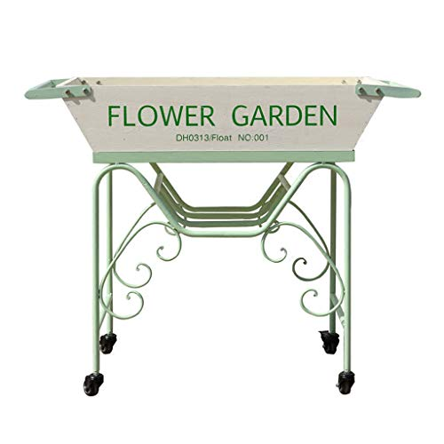 (White Green Wrought Iron Wood Float Cart Flower Stand Garden Villa Window Decoration Frame L-XYXY)