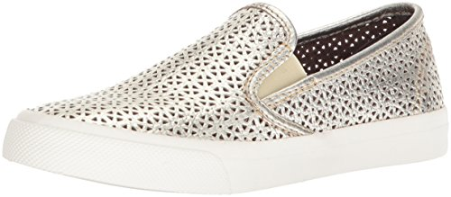 SPERRY Women's Seaside Nautical Perf Sneaker, Platinum, 7.5 Medium US