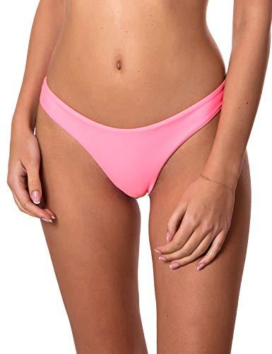 (RELLECIGA Women's Pink Cheeky Brazilian Cut Bikini Bottom Size Medium )