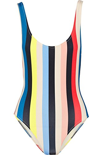 - MiYang Women's Sexy Crewneck One Piece Beachwear Bikini Monokini Swimsuit Rainbow Stripe L (US10-12)