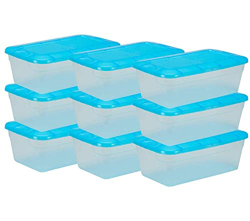 DecorRack Clear Plastic Storage Containers, Shoe Boxes, Stackable, Also Perfect for Toy Storage or as Cat and Dog Food Container, Blue Color (9 Pack)