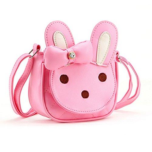 Happy Cherry - Bolsa Princesa Bolso Infantil en Bandolera para Niñas Cremallera Diseña Animal Conejo - Rosa Oscuro Rosa