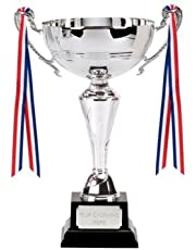 "10.25"" Knightsbridge Silver Trophy Cup with FREE Engraving up to 30 Letters Plus FREE Decorative Ribbon 051A"