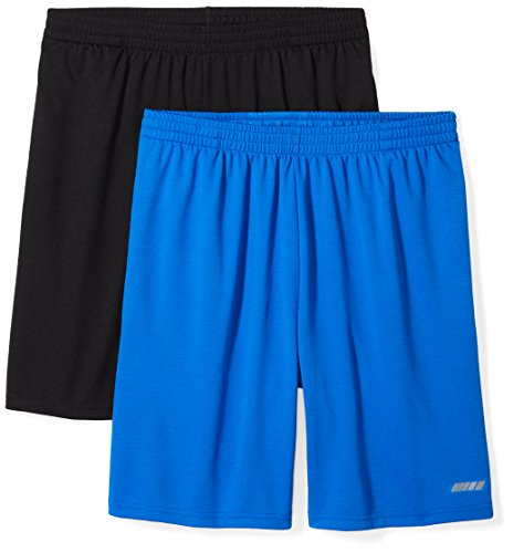 Amazon Essentials Men's 2-Pack Loose-Fit Performance Mesh Shorts, Black/Royal Blue, Medium