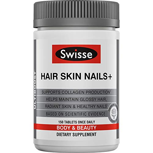 Swisse Ultiboost Hair Skin Nails Supplement | Premium Beauty Formula, Supports Collagen Production | Rich in Vitamin C & Silica, Plus Biotin | 150 Tablets