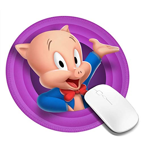 Porky Pig 7.9X7.9 in Waterproof Round Mouse Pad,Classy Non-Slip Rubber Mouse Mat for Game Study Office