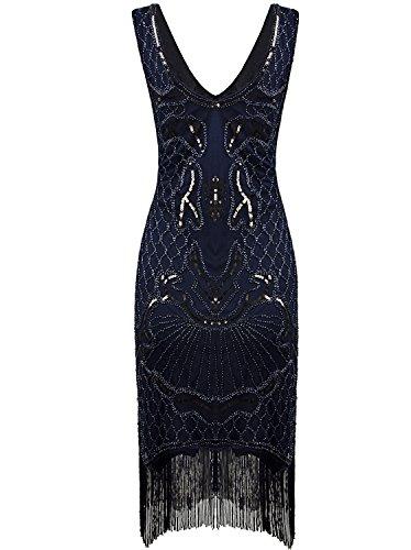 Cocktail Flapper Blue Fringe Women's Gatsby Nouveau Art Dress Vijiv 1920s Dress 1 Great qUwx6