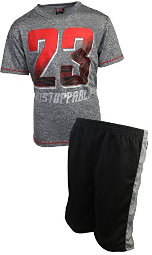 Mad Game Boys 2-Piece Basketball Performance Short Sleeve T-Shirt and Shorts Set, Charcoal 23, Size ()