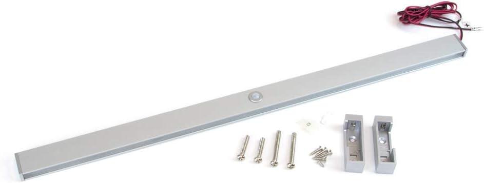 Emuca Luci LED per Armadio o Cabina Armadio, Asta Appendiabiti con Luce LED 4W 12V DC e sensore di Movimento, Alluminio anodizzato Opaco, L
