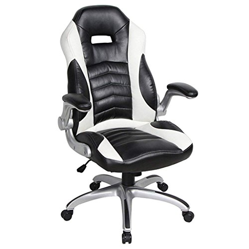 NKV Gaming Racing Office Chair High Back Ergonomic Computer Desk Chair Video Game Chair Heavy Duty Adjustable Swivel Chair Bonded Leather (Black/White)