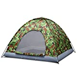 Flexzion 4 Person Camping Tent, Camouflage - Large Waterproof Lightweight Family Tent