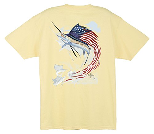 Guy Harvey Star Spangled Guy T-Shirt (Yellow, 3X-Large)