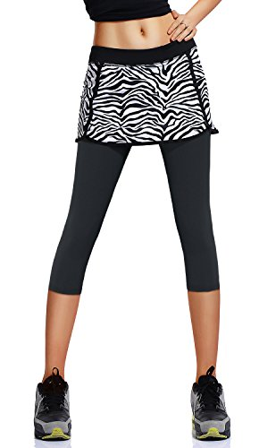 Slimour Womens Lotta Breeze Capri Skirt Stretchy Hug Skirt with Built-in Capri Legging(zs-m) (Breeze Skirt)