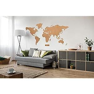 Mapa del mundo de corcho XXL, gran corchete, corcho, 210 x 105 cm 210×105 cm