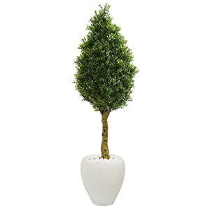 Nearly Natural Boxwood Cone Topiary in White Oval Planter 4.5' 100