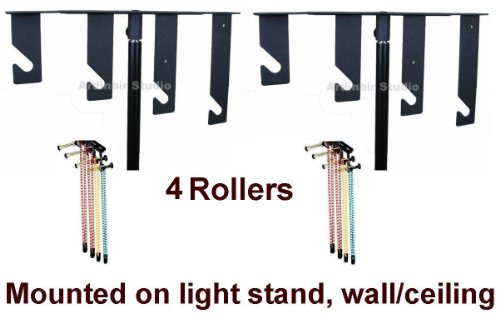 Ardinbir Studio 4x Chain Manual Drive Photography Background Backdrop Support System with Hooks, Rollers and Chains - Light Stand, Wall or Ceiling Mounted