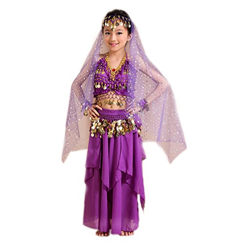 [Seawhisper Kid's Belly Dance Girl Halter Top, dress,veil,hip scarf,Bracelets Halloween Costume Set] (Bollywood Costume Party)