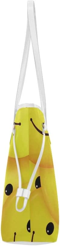 Woman Tote Bag Smiley Emoticon Face Cartoon Smile Daily Tote Bag Print Tote Bag Large Capacity Water Resistant with Durable Handle