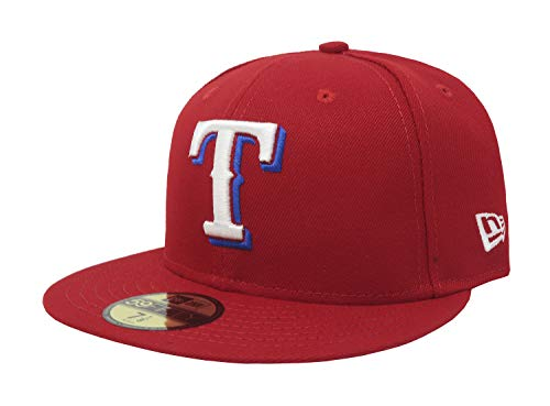 New Era Texas Rangers MLB Authentic Collection 59Fifty Cap Red/White/Blue Size Fitted 7 1/8 (Accessories Mlb Mens)
