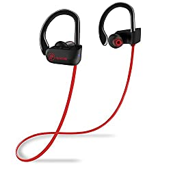 Bluetooth Headphones, FIRACORE Sports Wireless Headphones Bluetooth Earphones IPX7 Waterproof Earbuds with Mic, HD Stereo, Heavy Bass, Noise Cancelling Headsets for Running Workout Gym (Red) (red)