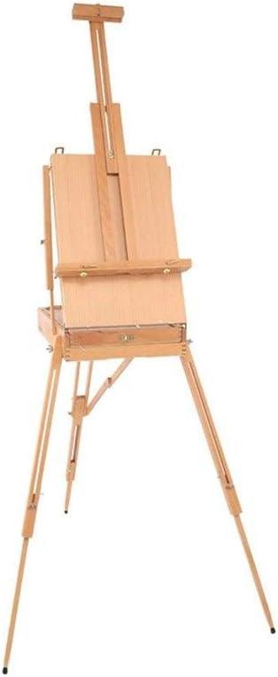 アーティストのためにプレミアム木製イーゼル、アートスケッチボックス、ポータブル折りたたみ描画三脚、画家 R/19/1210