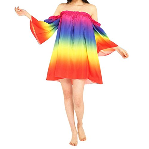 Rainbow Dresses Womens Clothing Belt (VESNIBA Women Rainbow Patchwork Flare Sleeve Off Shoulder Loose Casual Boho Beach Dress)