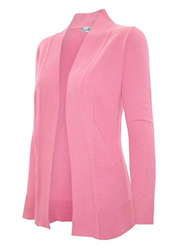 CIELO Women's Solid Basic Open Front Pockets Knit Sweater Cardigan Baby Pink L