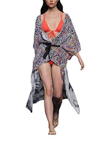 Copricostume Mare Donna Elegante Estivo Autunnale Chiffon Delle Cardigan Manica 3/4 One Size Lunghi Kimono Stampa Animalier Con Cintura Grazioso Moda Top Blu