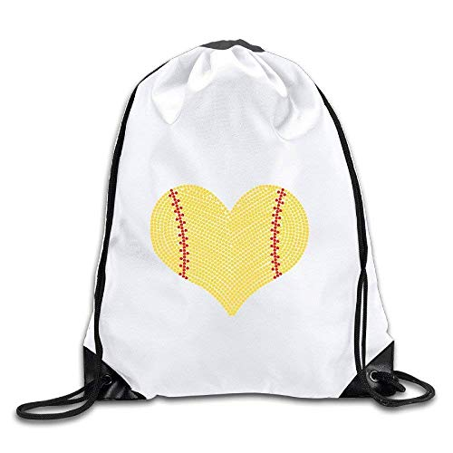 Undaglin I Love Softball Heart Polyester Drawstring Backpack Tote Sport Bag Home Travel Sport Storage Use ()