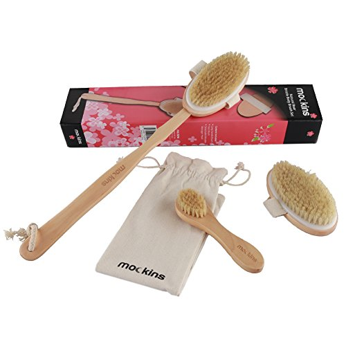 mockins Natural Boar Bristle Body Brush Set With Detachable Cellulite Brush And Long Wooden Handle For Dry Brushing Perfect Kit To Exfoliate And Alleviate Cellulite - Holiday Gift Set